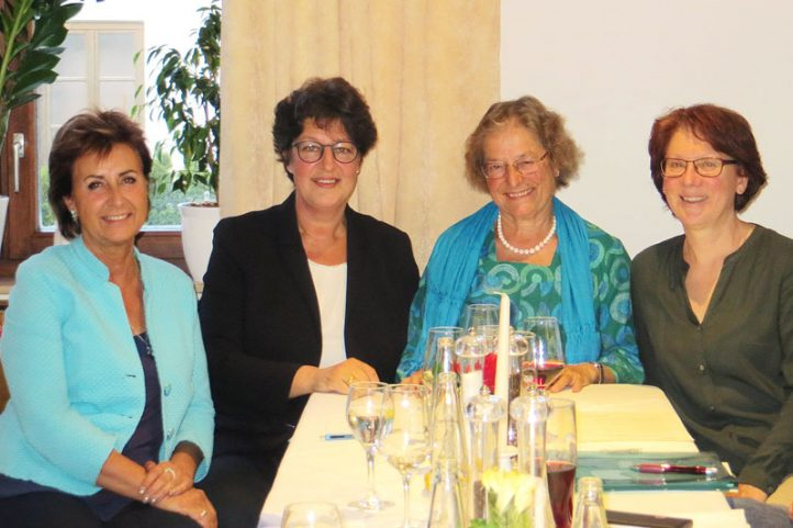 Von links: Frau Angelika Flock (Mtgl. des Vorstands), Frau MdL Susann Enders, Frau Dr. Lammerer (1. Vorsitzende) und Frau Dr. Leimig (2. Vorsitzende)
